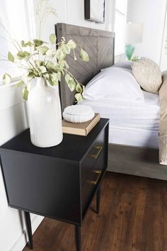 Organize and simplify your bedside clutter with our Olivia Two-Drawer Side Table. Home Bedroom, Bedroom Decor, Master Bedroom, Bedroom Retreat, Bedroom Ideas, Cluttered Bedroom, Side Table Decor, Side Tables Bedroom, Black Side Table