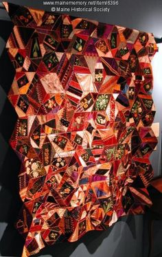 Crazy quilt made by Carrie P. Leighton of Camden in 1886