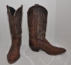 Tony Lama Western Brown Leather Cowboy Boots Men's sz 8.5 #TonyLama #CowboyWestern