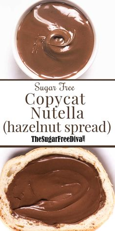 Make your own hazelnut spread using this easy and delicious Sugar Free recipe which is like a Sugar Free Copycat Nutella recipe Sugar Free Cookies, Sugar Free Desserts, Sugar Free Recipes, Low Carb Desserts, Keto Recipes, Snacks Recipes, Vegan Snacks, Cookie Recipes, Healthy Snacks