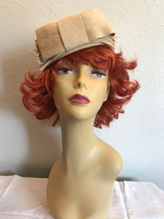 Alfreda Inc. New York Paris Pill Box Hat Vintage 1940 s-50 s Felted Wool  Beige c544e9d603a1