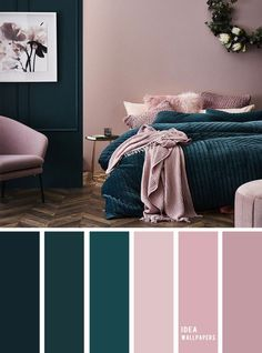 10 Best Color Schemes for Your Bedroom Deep ocean Teal Mauve , blush color palette, colo. 10 Best Color Schemes for Your Bedroom Deep ocean Teal Mauve , blush color palette, colour palette Best Color Schemes, Bedroom Color Schemes, Colour Schemes For Living Room, Decorating Color Schemes, Apartment Color Schemes, Diy Decorating, Colors For Bedrooms, Interior Color Schemes, Green Bedroom Colors