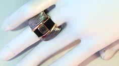 Anillo Acero Oro Carbón.(14mm Ancho)