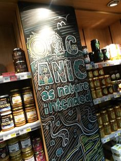 """""""Organic As Nature Intended"""" campaign chalkboard illustration - P9W3 Ealing - August 2015"""
