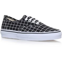Authentic Grid Vans Black/Other ($79) ❤ liked on Polyvore featuring shoes, sneakers, urban sneakers, rubber shoes, black flat shoes, low profile sneakers and canvas sneakers