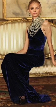 Navy velvet gown with a heavily jeweled neckline   The epitome of elegance & sophistication.