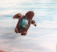 Купить Черепаха морская.Брошь с ларимаром - тёмно-бирюзовый, черепашка морская брошь
