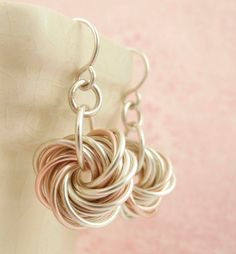 These hand crafted Eternity Earrings feature endless spirals of silver and just a hint of rose gold...or copper or peridot green or over 30 other colors! They are a dramatic and dressy interpretation of a classic chainmaille pattern!