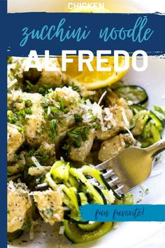 This Zucchini Chicken Alfredo is a delicious low-carb option to traditional pasta. Keto Friendly with the use of heavy cream or use my quinoa cream recipe for a lower fat alternative. This is one you will want to put in your weekly rotation. Chicken Zucchini, Zucchini Noodles, Ketogenic Recipes, Keto Recipes, Chicken Alfredo, Low Carb Diet, Cream Recipes, Keto Snacks, Quinoa