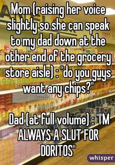 "Mom (raising her voice slightly so she can speak to my dad down at the other end of the grocery store aisle) : ""do you… http://ibeebz.com"