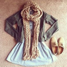 Teenage Fashion Blog: Knit Scarf + Olive Jacket + Denim with Belt # Fall...
