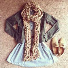 Teenage Fashion Blog: Knit Scarf + Olive Jacket + Denim with Belt # Fall...