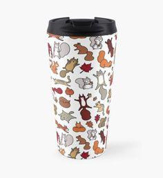 """Squirrels in Fall Doodle"" Travel Mug by KiraKiraDoodles , Secret Squirrel, Squirrel Girl, Squirrel Cake, Coffee Art, Coffee Mugs, Coffee Time, Diy Tumblers, Kawaii, Mug Designs"