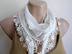 Cream Cotton Scarf  Wedding Shawl Cowl with Lace by fizzaccessory, $14.00