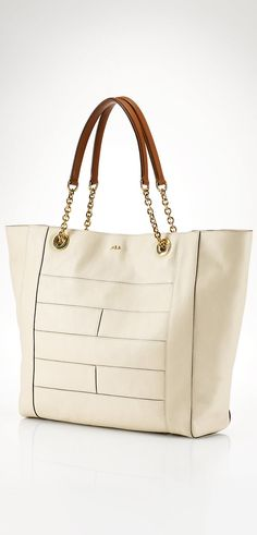 Lauren Chain Handle Leather Tote | Buyerselect.com