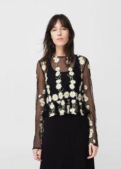Top bordado floral - Camisas de Mujer   MANGO España
