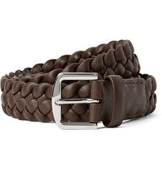 Loro Piana - 3.5cm Brown Woven Leather Belt $685