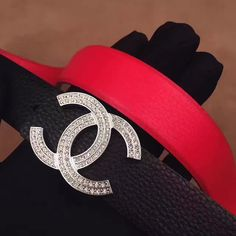 Chanel woman leather belt CC buckle