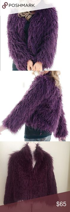 "Donna Salyers FAUX FUR Mongolian Coat Eggplant S This is a gorgeous Donna Salyers Fabulous furs FAUX Mongolian coat. Size small. Eggplant color. She'll 100% acrylic lining 100% acetate. Bust 40"" length 23"" great condition. Worn a few times. donna salyers Jackets & Coats"