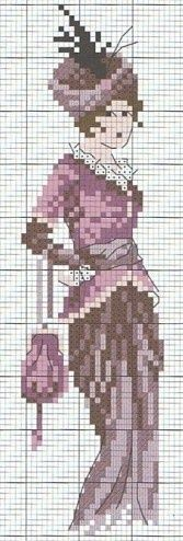 0 point de croix - cross-stitch vintage lady
