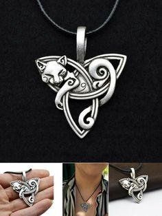 Cat on Triquetra Celtic Necklace The Celtic Cat comfortably lies on a Triquetra - A symbol widely known and used by many different cultures. Cat on Triquetra Celtic Necklace Cat Jewelry, Wire Jewelry, Jewelry Design, Jewlery, Triquetra, Kitten Baby, Mode Hippie, Celtic Necklace, Cat Necklace