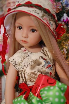 Little Darling doll at Christmas