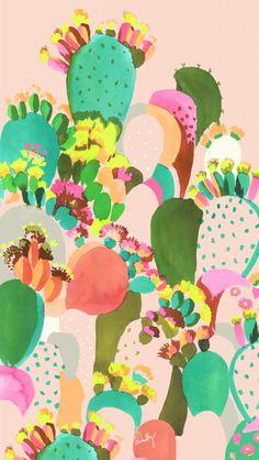 cactus print : watercolour by Helen Dealtry (colour, illustration, painting) art garden indoor plants