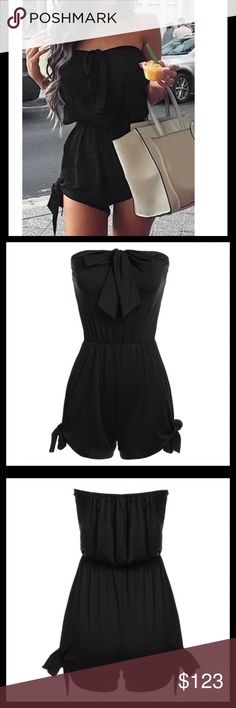 ✨HP✨5⭐️RATED STRAPLESS BOW-TIE ROMPER Sizing up recommended for cover-shot fit. Unique style, create a illusion for stunning curves and sexy elegant.  -Strapless  -Sleeveless  -Bust Bow & side leg bow -Waist type: Elastic  -Above Knee  -Fabric-Polyester -Garment Care: Hand-wash and Machine washable  🛍 2+BUNDLE = SAVE  ‼️NO TRADES--NO HOLDS  ✈️Ship Same Day--Purchase By 2PM PST  🖲USE BLUE OFFER BUTTON TO NEGOTIATE   ✔️Ask Questions Not Answered In Description--Want You To Be Happy CHIC✨GIRL…
