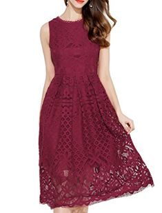 1b4577288d2 VEIISAR Womens Fashion Sleeveless Lace Fit Flare Elegant Cocktail Party  Dress at Amazon Women s Clothing store