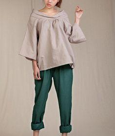 Blusa casual de lino tres cuarto manga Shirtmore por FashionColours