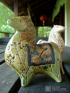 Tenmoku pottery horse  sculpture
