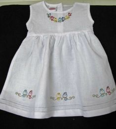 """Items similar to Embroidered """"Perching Bird Line"""" Linen Dress on Etsy Kids Frocks Design, Baby Frocks Designs, Baby Girl Dress Patterns, Baby Clothes Patterns, Kids Dress Wear, Little Girl Dresses, Vintage Baby Dresses, Baby Bloomers Pattern, Sewing Kids Clothes"""