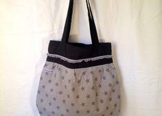 Tragtasche grau-schwarz Reusable Tote Bags, Fashion, Grey, Black, Bags, Moda, Fashion Styles, Fashion Illustrations