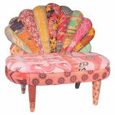 """Add boho-chic flair to your living room seating group or home library with this eye-catching handmade settee, showcasing vintage kantha cloth upholstery and a mango wood frame.  Product: SetteeConstruction Material: Vintage cotton and mango woodColor: MultiFeatures: HandmadeDimensions:  36"""" H x 42"""" W x 28"""" D Note: Due to the vintage nature of this product, some wear and tear is to be expected. Product may show signs of brand marks, scrapes or other blemishes. Cleaning and Care: Spot ..."""