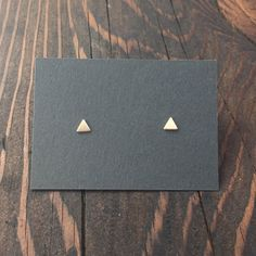 Tiny Triangle Stud Earrings in Gold with Sterling Silver Posts by MaderaLane on Etsy