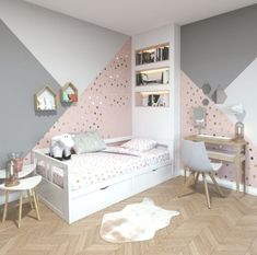 Contemporary children& room made of pink, white, beige wood: inspiration for . - Contemporary children& room made of pink, white, beige wood: inspiration for the contemporary - Woman Bedroom, Teen Bedroom, Bedroom Wall, Bed Room, Girls Bedroom Mural, Diy Bedroom, Bedroom Decorating Tips, Bedroom Ideas, Budget Bedroom