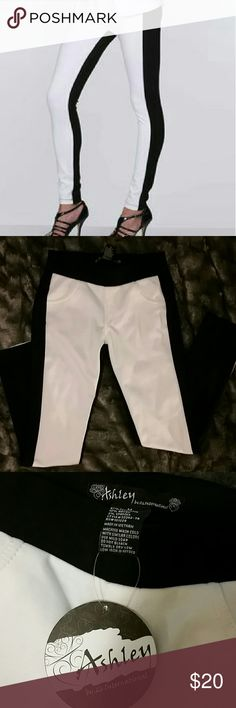 """NWT TUXEDO PANTS/JEGGINGS/LEGGINGS These Ashley by 26 International are NWT black with white front tuxedo pants. These are thick, form fitting with some stretch. Material is 87% polyester, 10% rayon & 3% spandex.  Measures 13"""" across waist with a 26"""" inseam. 26 International  Pants Leggings"""