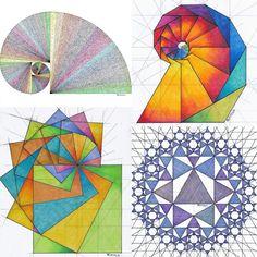 #fractal #fibonacci #geometry #symmetry #mathart #regolo54 #rainbow #square #progession #evolution #escher #triangle