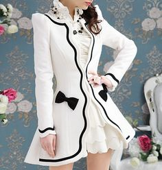 Hot sell New style White floral inlay black self coat jacket_Fashion Coats_Mili fashion Trade Co.Ltd