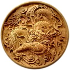 Japanese carved wood dragon