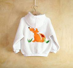 Fox toddler cotton sweatshirt handmade creamy white by PABUITA, €35.00