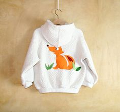 Fox toddler cotton sweatshirt handmade, creamy white hoodie with applique cotton and felt, pink and white buttons, Made to order on Etsy, $61.97