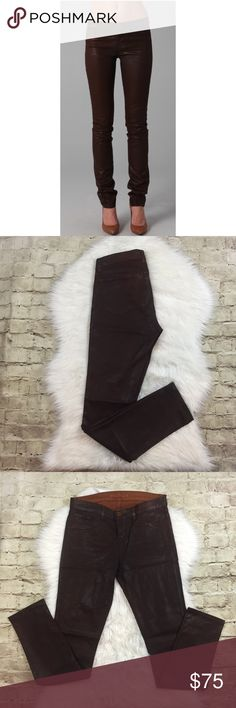 J Brand Skinny Leg Coated Jeans J Brand in turbulent coated clay brown jeans • mid rise • in like new condition • J Brand Jeans Skinny