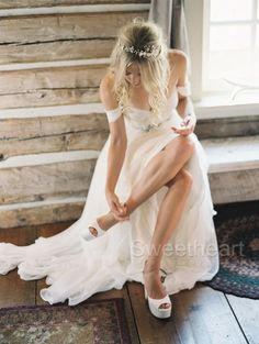Beach Chiffon A-line Wedding Dresses Off Shoulder Sweetheart Beading Belt Ruched Summer Wedding Gowns