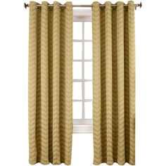 Sun Zero™ Cadiz Chevron Room-Darkening Grommet-Top Curtain Panel ($30) ❤ liked on Polyvore featuring home, home decor, window treatments, curtains, light blocking curtains, room darkening window treatments, grommet draperies, grommet curtain panels and grommet curtains