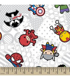 Marvel Kawaii Superhero Toss Flannel Fabric