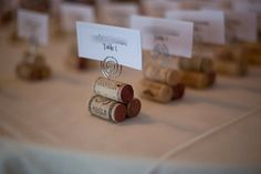 Handmade rustic cork place card holders. These wine cork place card holders are sturdy and wonderful for weddings and special occasions. They are