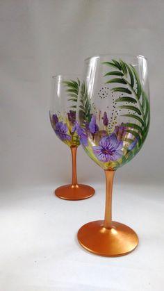 Purple Irises Wine Glasses -- Birthday gift, Gift Idea, Keepsake, Wedding Gift, Mom giftHand Painted -- Set of 2
