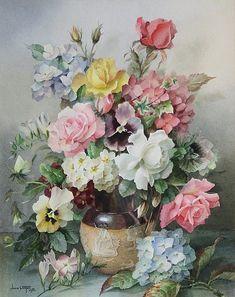 Jack Carter (British, 1912-1992) Still life of roses, hydran