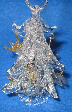 Vintage 1983 Enesco Clear Blown Glass Christmas Tree with Gold Charm Ornaments